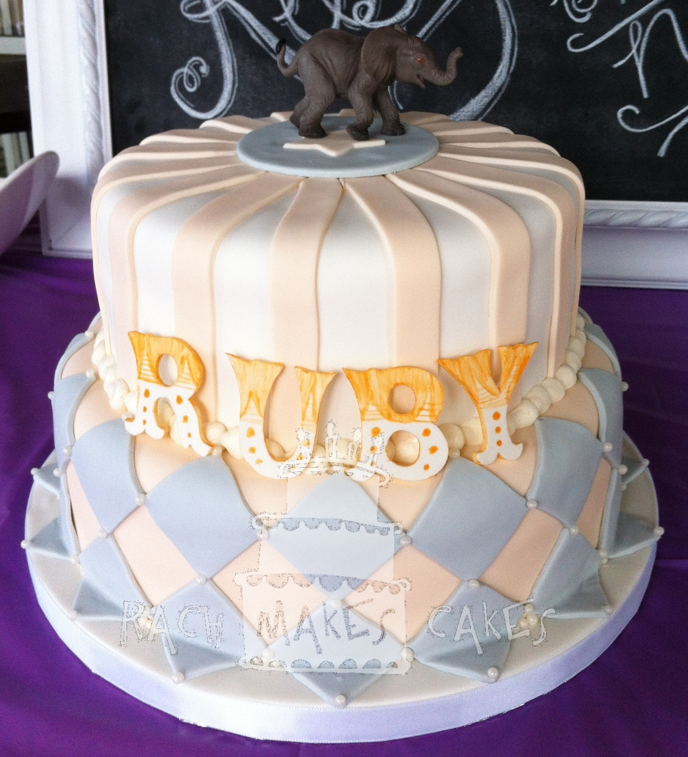 vintage circus baby shower cake