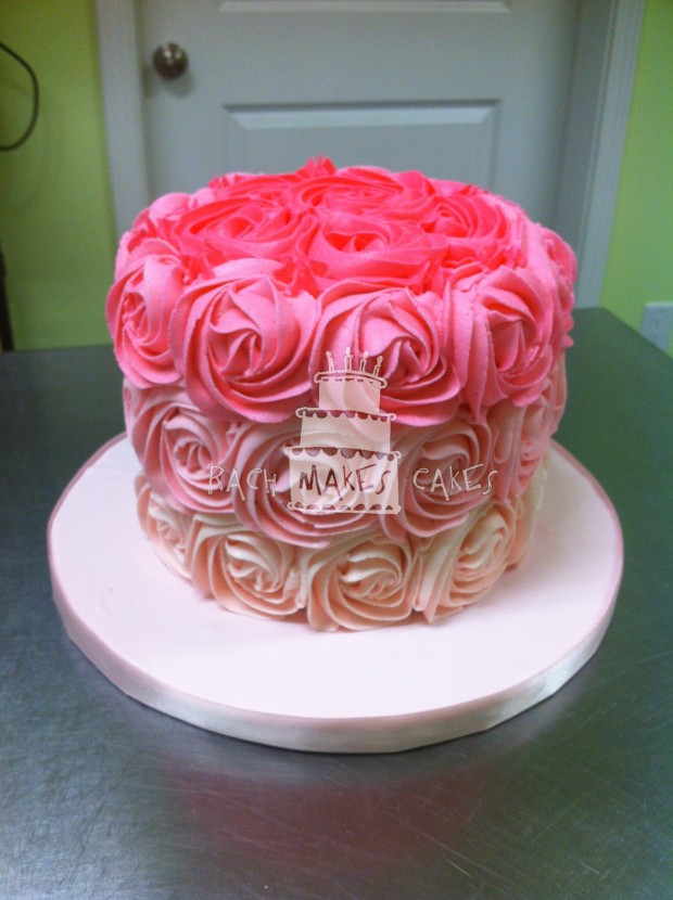 Pink Ombre Rose Cake Rach Makes Cakes