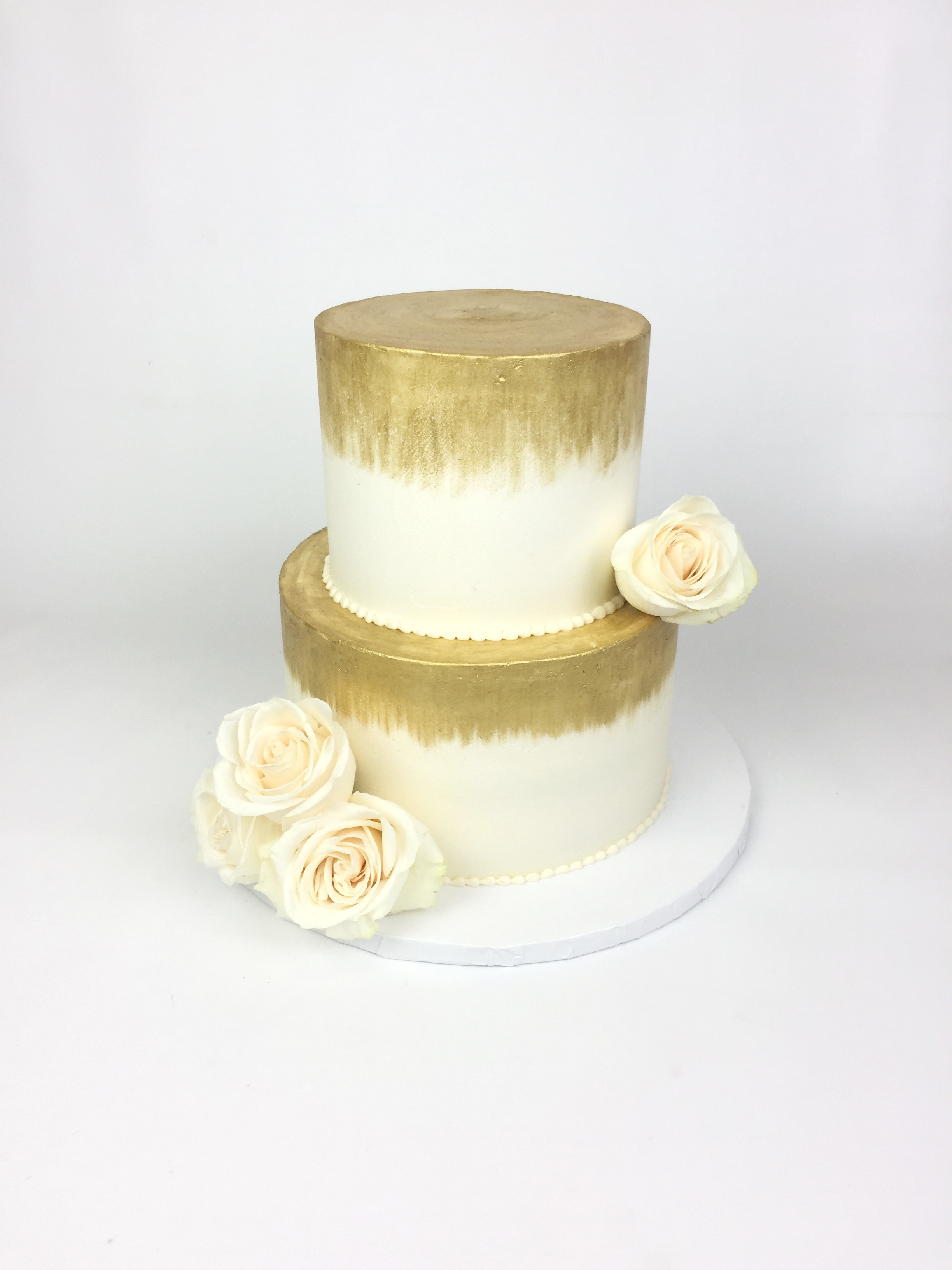 White & Gold Cake with White Roses — Rach Makes Cakes
